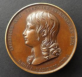 Médaille en bronze de Louis XVII , prison du Temple; XIXe