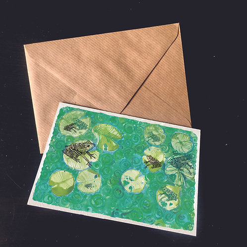 Frogs on Lilies | A6 greetings card | blank inside
