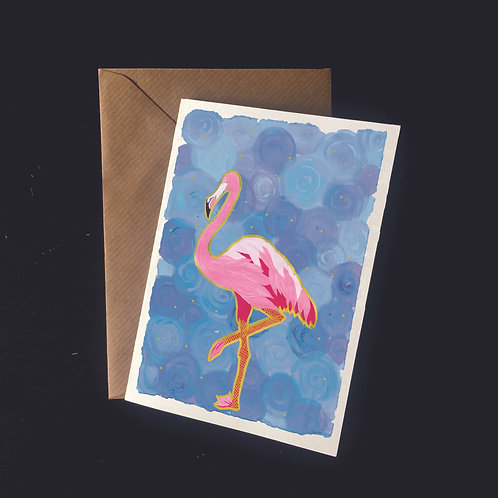 Flamingo on Blue | A6 greetings card | blank inside