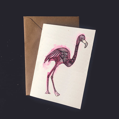 Flamingo | A6 greetings card | blank inside