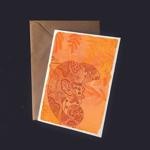 Chameleon on Orange | A6 greetings card | blank inside