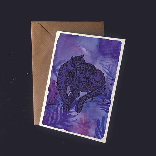 Jaguar in the Leaves | A6 greetings card | blank inside
