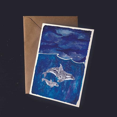 Orcas in Starry Seas | A6 greetings card | blank inside