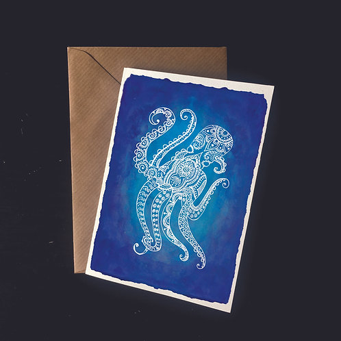 Octopus in Dark Seas | A6 greetings card | blank inside