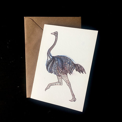 Ostrich | A6 greetings card | blank inside