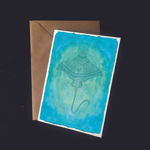 Stingray in the Shallows | A6 greetings card | blank inside