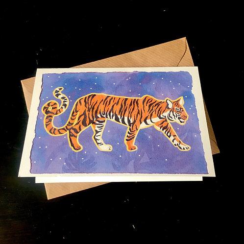 Tiger on Purple | A6 greetings card | blank inside