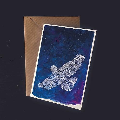 Owl in Starry Skies | A6 greetings card | blank inside