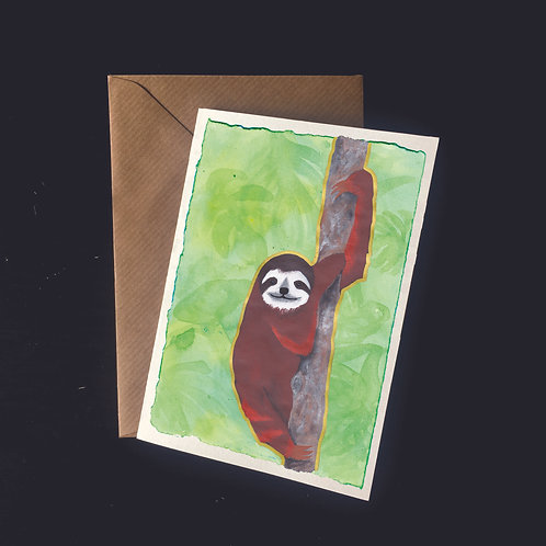 Sloth on Green | A6 greetings card | blank inside