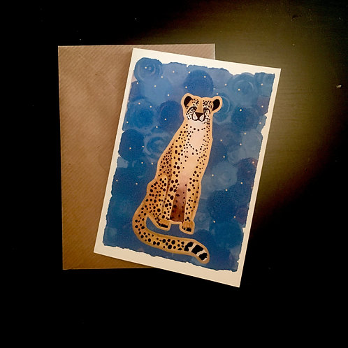 Cheetah on Blue | A6 greetings card | blank inside