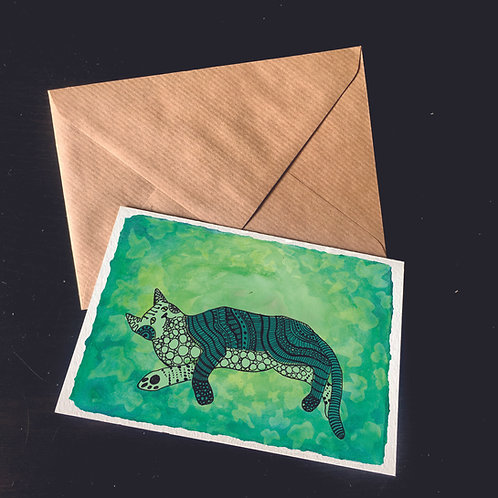Cat in the Ivy | A6 greetings card | blank inside