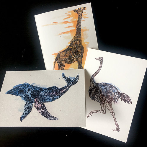 Group of 3   choice of designs   A6 blank greetings cards