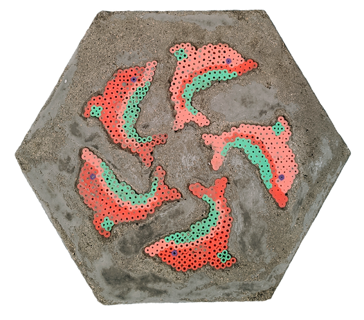 perler beads, cement, 12 x 12 x 1 3/4 inches, 2020
