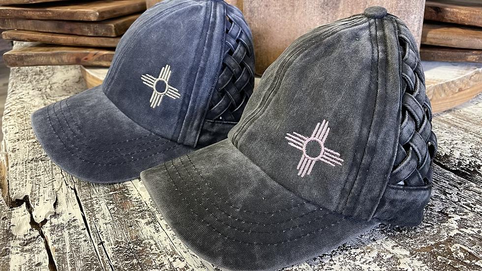 Basket weave Criss Cross Ponytail Caps