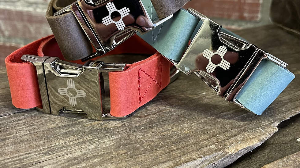 "Leather Zia Collars-Large up to 13""-17"""