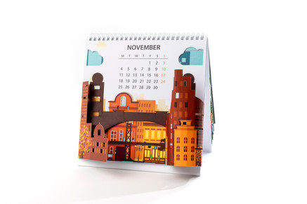 לוח שנה עם חיתוכי לייזר תלת מימדיים