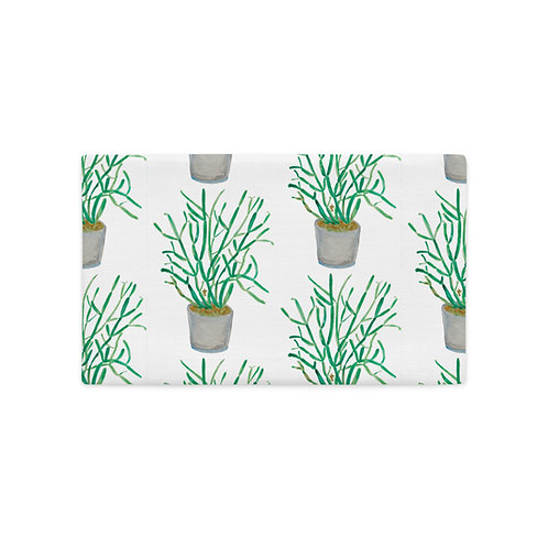 Pencil Plant, Quarantine Watercolor, Premium Pillow Case