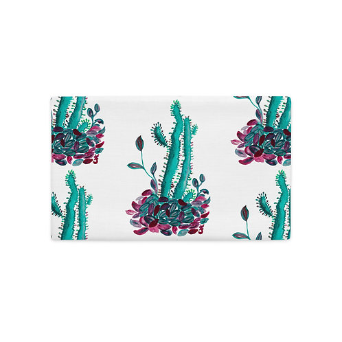 Cactus and Red Leaves, Quarantine Watercolor, Premium Pillow Case