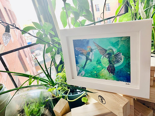 White Framed print of Hummingbird Heaven, Environment