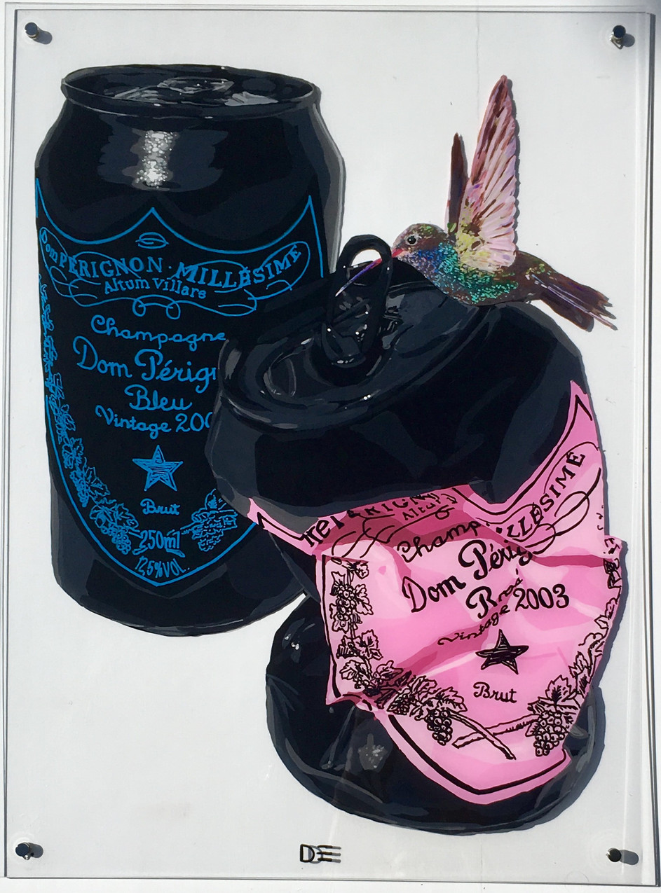 BLACK CANS WITH BIRD 31x23 dominique ste