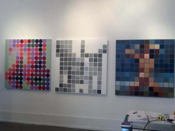 Three male nude paintings