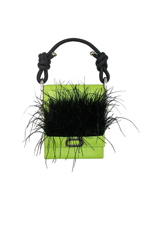 Black Fluffly Feather Handbag