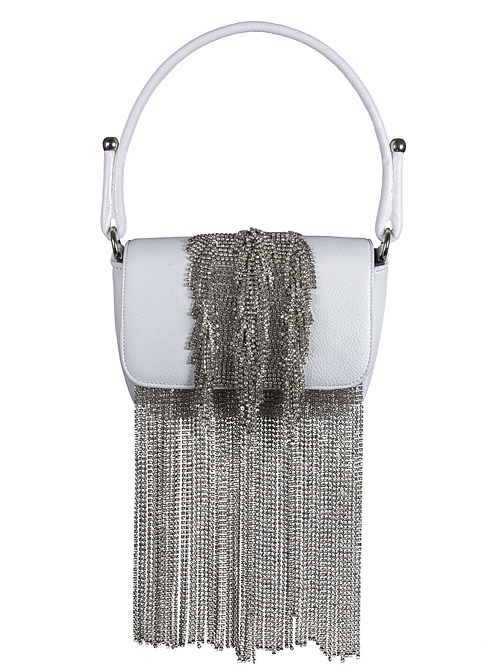 Crystal Fringe White Handbag
