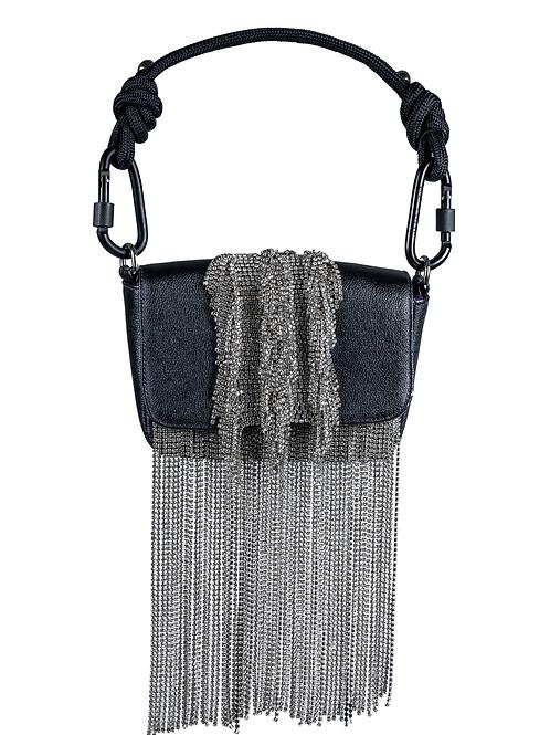 Crystal Fringe Black Handbag