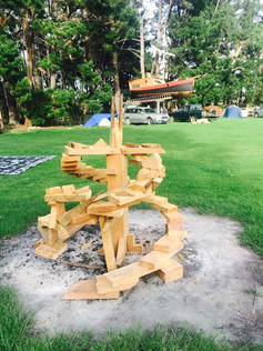 Bonfire sculpture for Full Moon - built from scrap wood