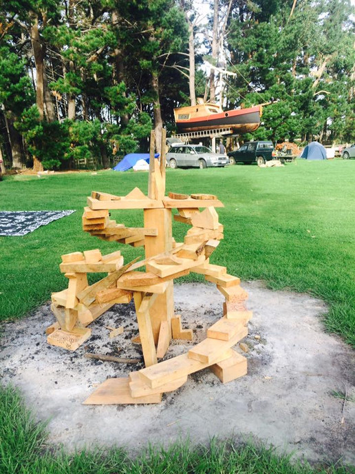 Bonfire sculpture for Full Moon - built from scrap wood