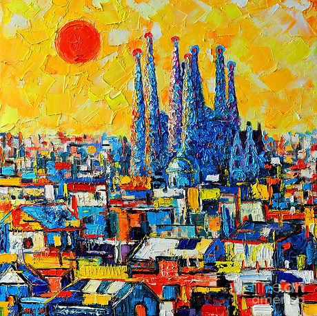 abstract-sunset-over-sagrada-familia-in-