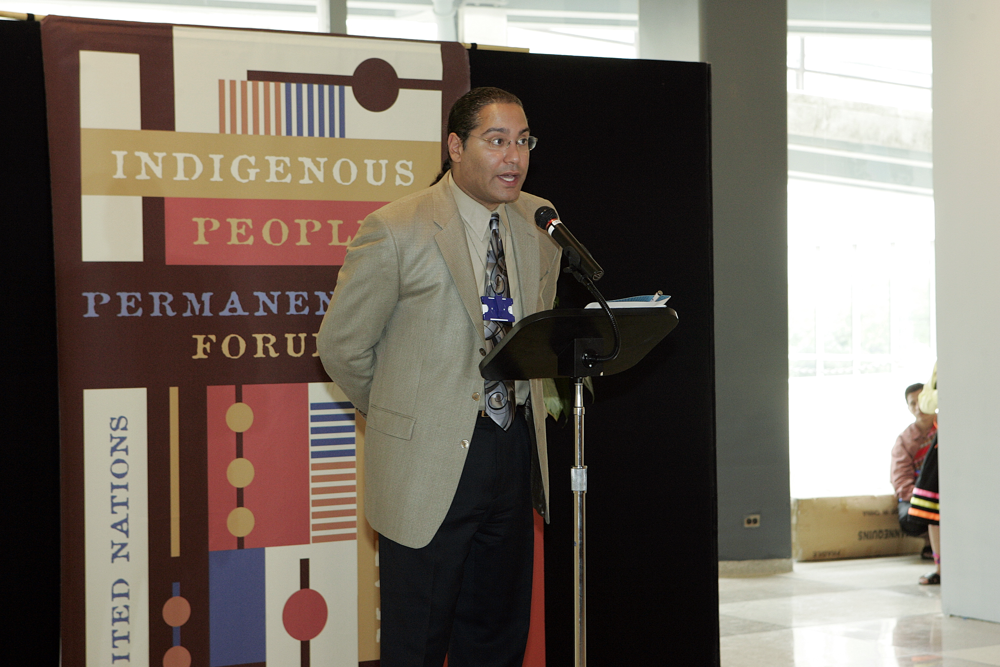 Roberto Borrero, Master of Ceremonies, UN Indigenous Peoples Day, 2005