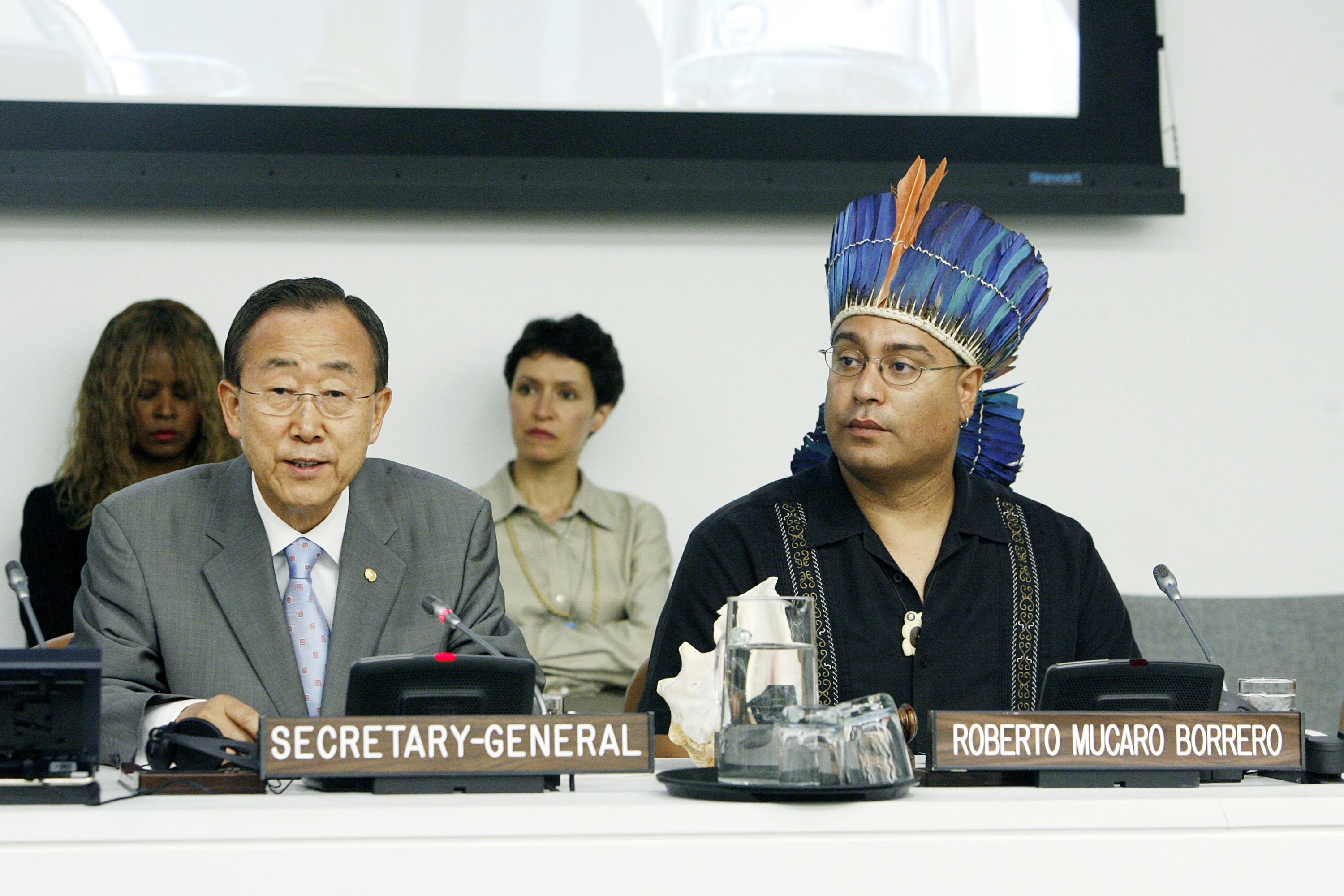 R. Múkaro Borrero and UN Secretary General Ban Ki Moon, 2010. Photo credit: Evan Schneider