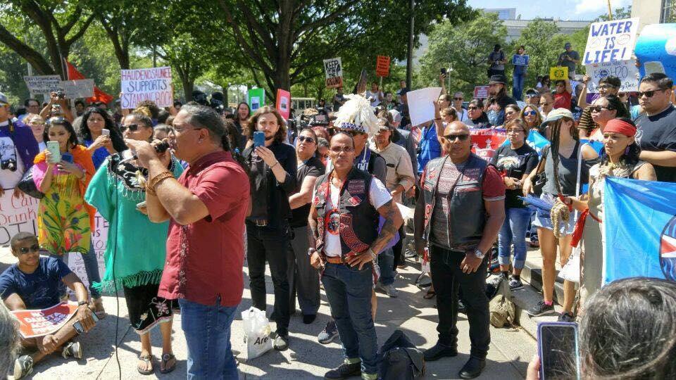 Roberto Borrero speaking at solidarity for Standing Rock Rally in Washington D.C. 2016