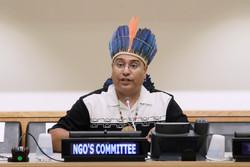 Roberto Borrero speaking at UN, 2013. Photo: Devra Berkowitz