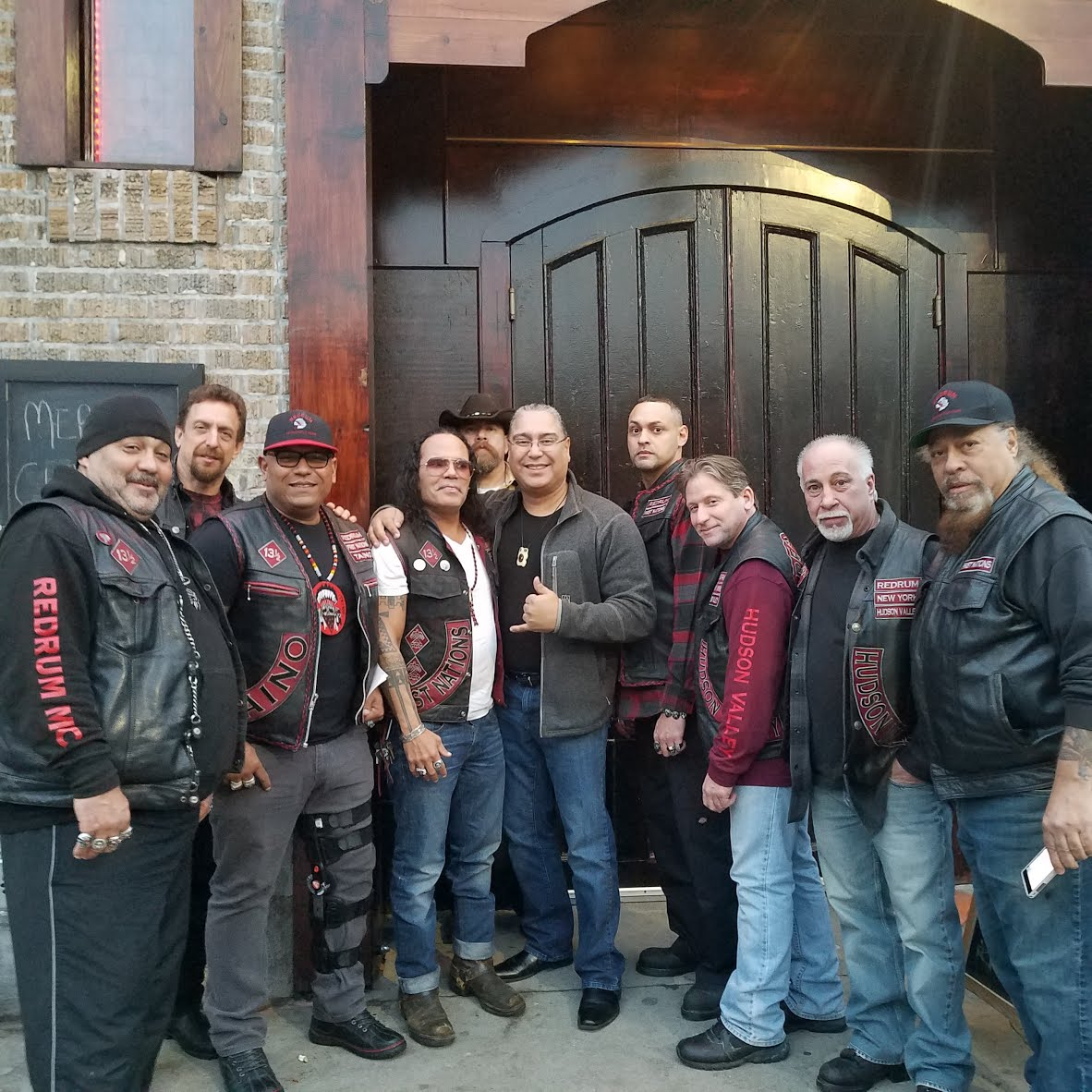 Members of the Redrum Motorcycle Club and Mukaro Borrero, 2017