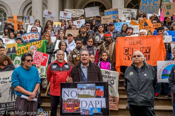 Roberto Mukaro Borrero speaking at NoDAP Rally at NY City Hall, 2016