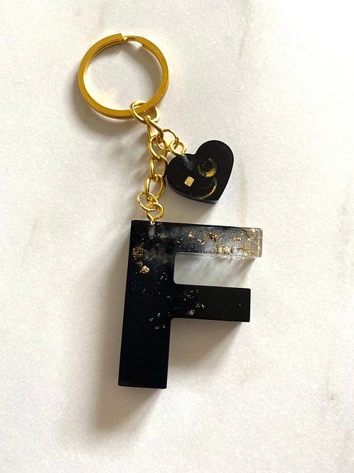Black & Gold Foil 'F' Keyring