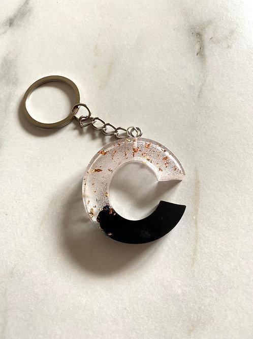 Black & Rose Gold Foil 'C' Keyring
