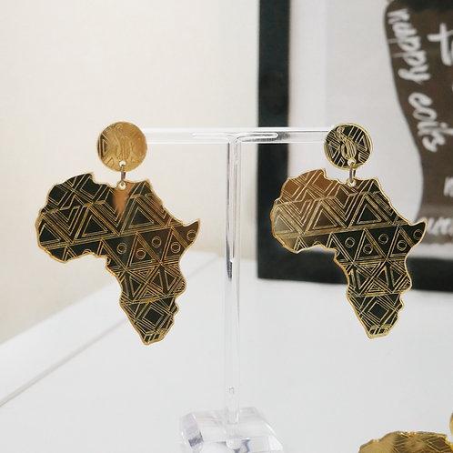 Africa Map Earrings Gold