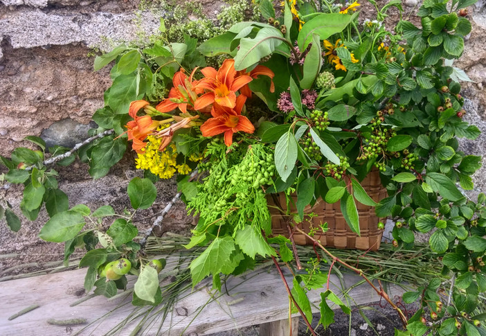 greens and blooms from the garden