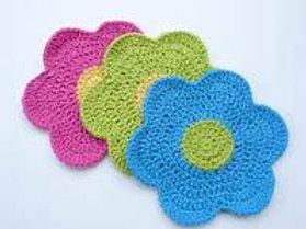Hand-Crocheted Flower Dishcloth