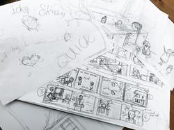 Icky Sticky story board sketching