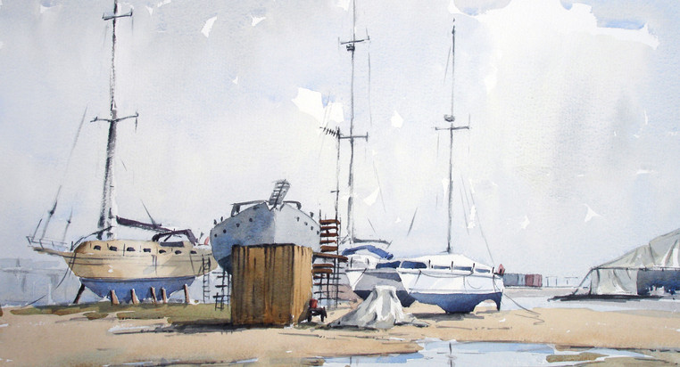 Boat yard in Cardiff bay.