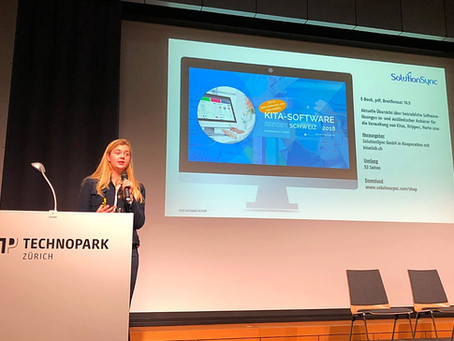 SolutionSync's Christabel Zahnd stellt Kita-Software Report Schweiz 2018 vor