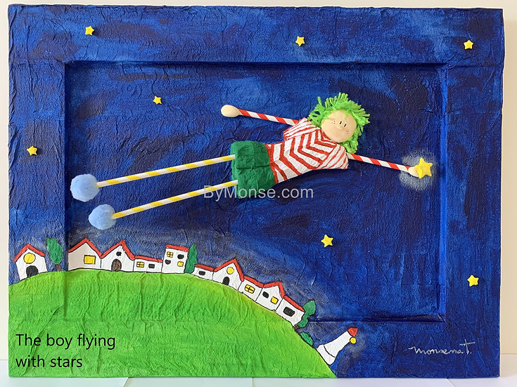 The boy flying with stars