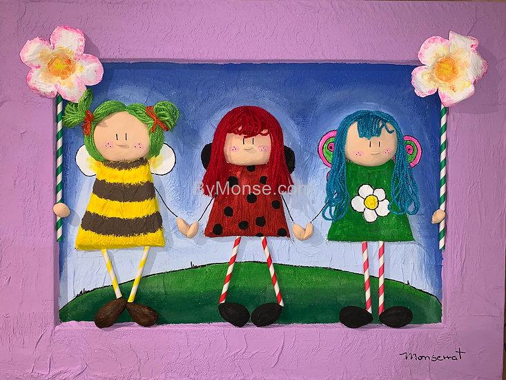 Little bee, ladybug and little buterfly