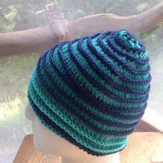 Handmade hat in turquoise and navy, one of a kind beanie, winter hat