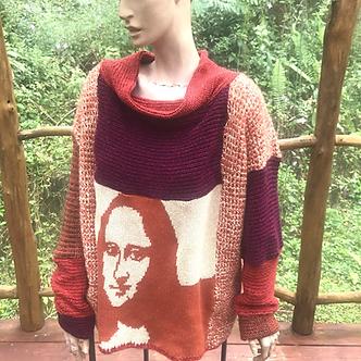Oversize XL sweater with Mona Lisa