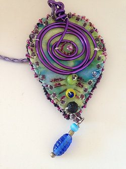 Leaf pendant pastels and purple wire